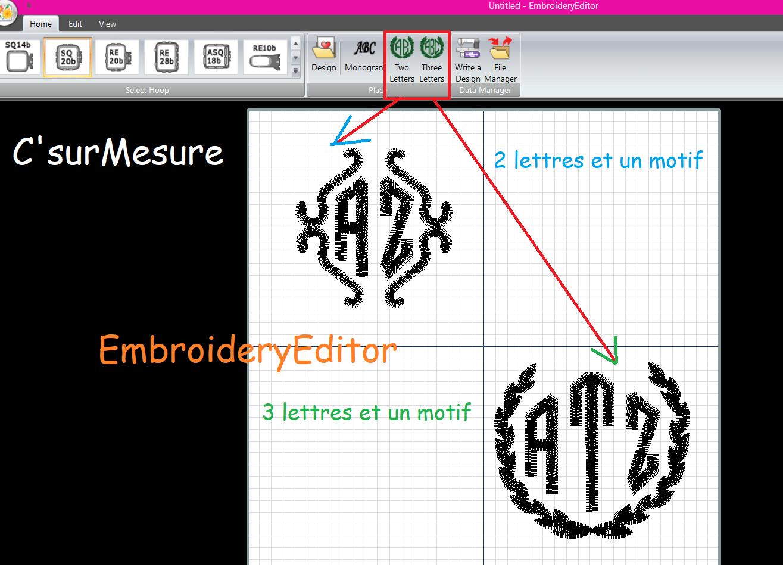 Monogrammes 2 où 3 lettres avec motif de la MC500E.