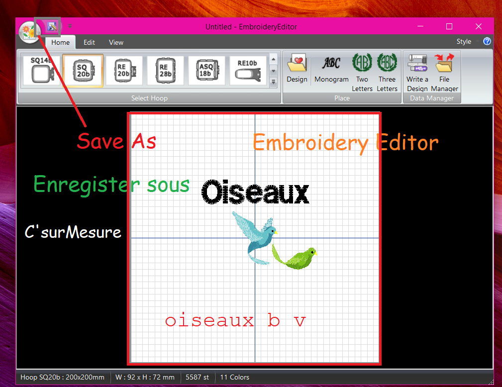 12 Enregistrer sous, Save As d'Embroidery Editor Janome.