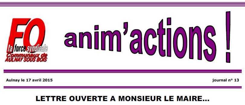 Le syndicat Force Ouvrière s'inquiète du sort des agents du service animation périscolaire d'Aulnay-sous-Bois
