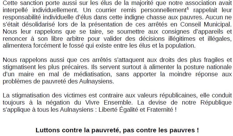L'association Vivre mieux ensemble satisfaite de l'annulation des arrêtés anti-mendicité à Aulnay-sous-Bois