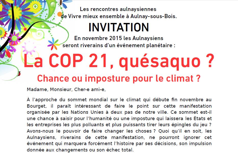 Aulnay-sous-Bois : la COP 21, chance ou imposture pour le climat ?