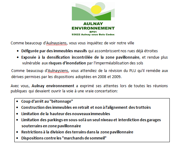 Réunion publique d'Aulnay Environnement sur le plan local d'urbanisme à Aulnay-sous-Bois