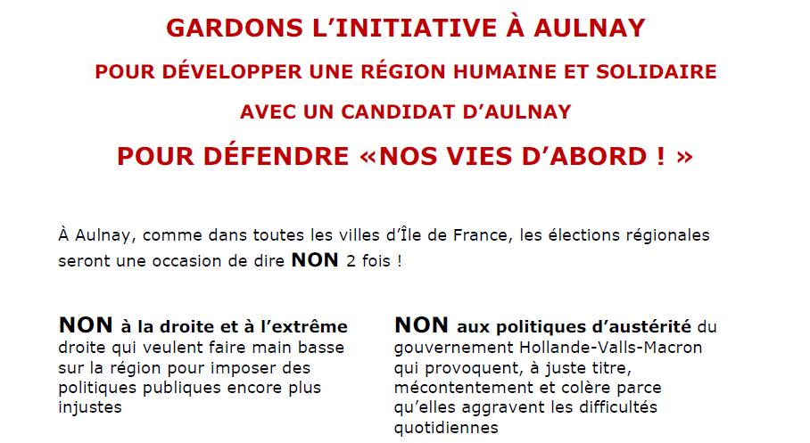 Laurent Barbier candidat d'Aulnay-sous-Bois pour le Front de Gauche aux élections régionales de 2015 en Ile-de-France