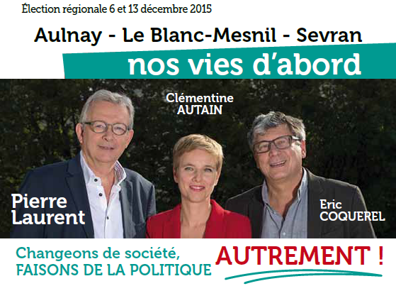 Le Front de Gauche de nouveau en campagne à Aulnay-sous-Bois pour les élections régionales de 2015