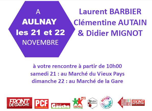 Clémentine Autain sur le marché du Vieux-Pays à Aulnay-sous-Bois ce matin