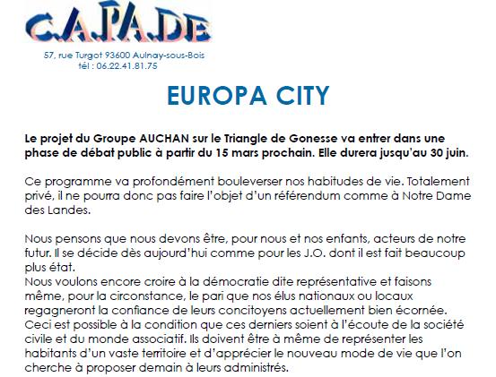 Réunion d'information à Aulnay-sous-Bois sur le projet du Groupe Auchan Europa City à Gonesse
