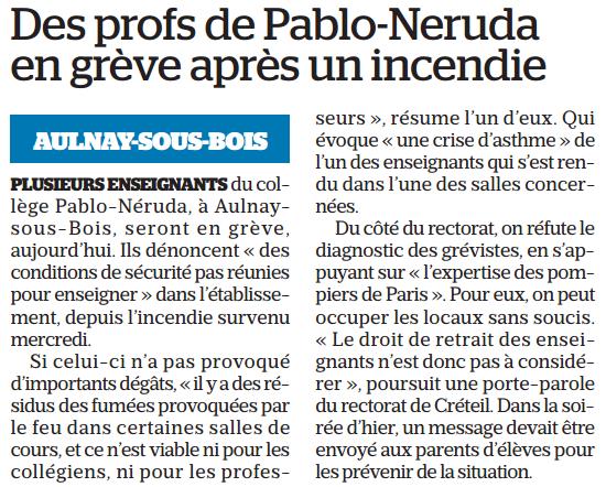 Des profs du collège Pablo Neruda d'Aulnay-sous-Bois en grève suite à un incendie