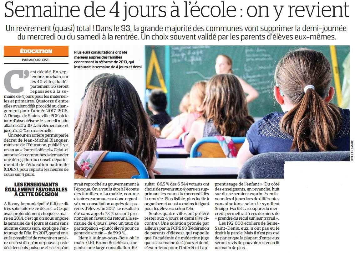 Retour à la semaine de 4 jours dans les écoles à Aulnay-sous-Bois pour la rentrée prochaine