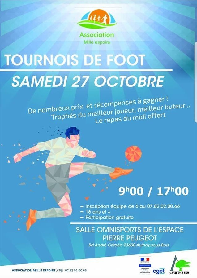L'association Mille Espoirs organise un tournoi de foot à l'Espace Peugeot d'Aulnay-sous-Bois