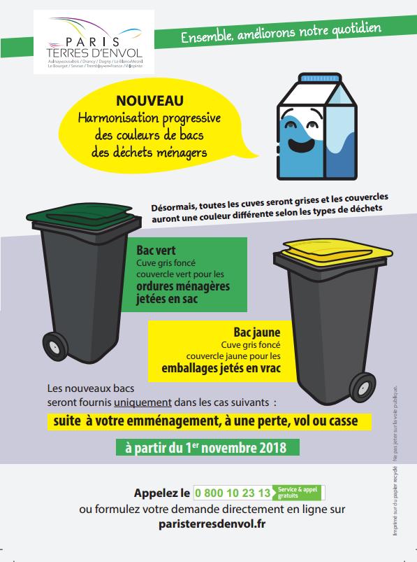 Nouveaux bacs pour les déchets ménagers à Aulnay-sous-Bois et dans les villes de Paris Terres d'Envol