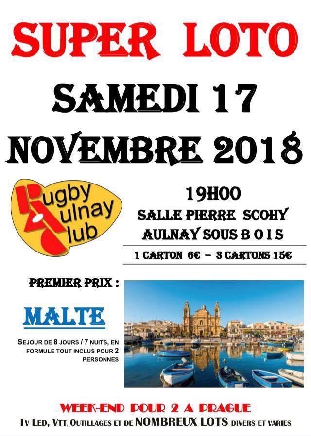 Super loto du Rugby Aulnay Club ce samedi 17 novembre 2018