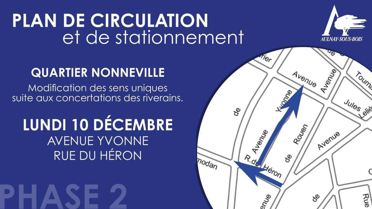 Modification des sens uniques avenue Yvonne et rue du Héron à Aulnay-sous-Bois