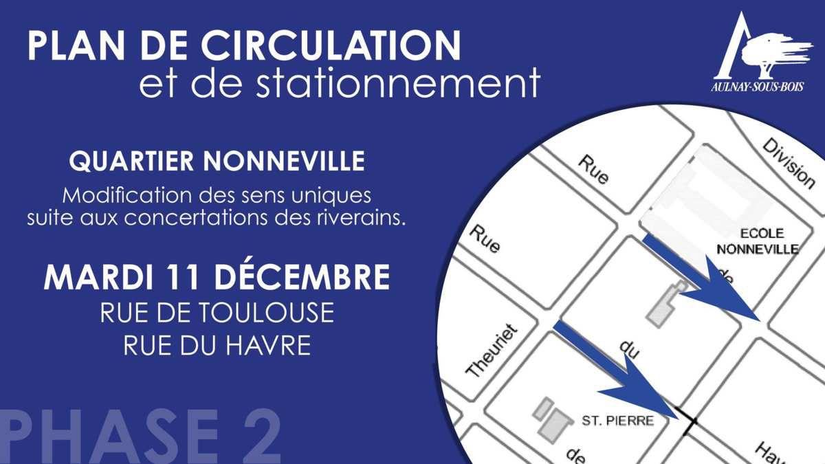 Modification des sens uniques rue de Toulouse et rue du Havre à Aulnay-sous-Bois