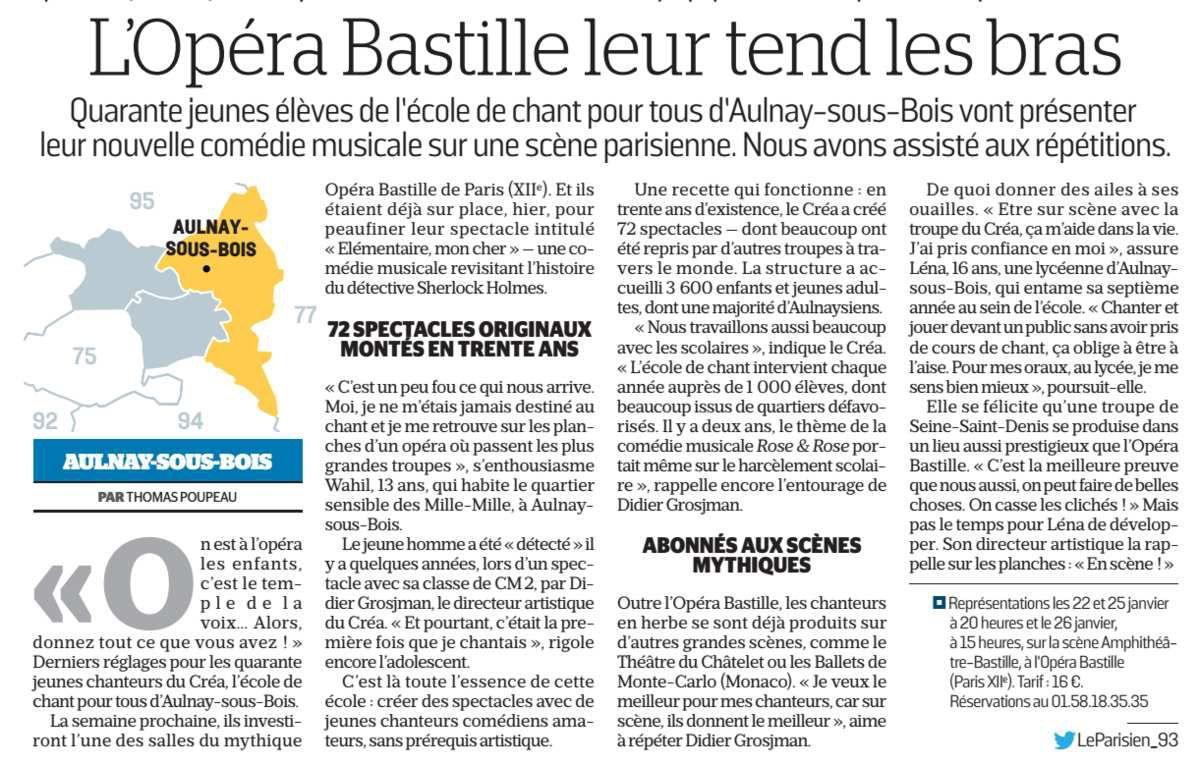 Le Créa porte les couleurs d'Aulnay-sous-Bois à l'Opéra Bastille de Paris !