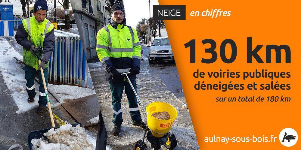 Très forte mobilisation des agents de la ville d'Aulnay-sous-Bois pour faire face à la neige