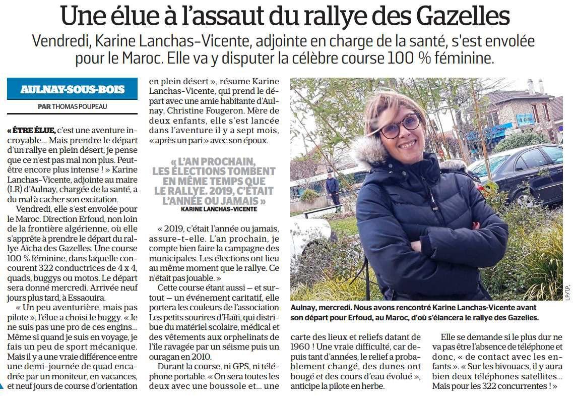 Karine Lanchas-Vicente élue à Aulnay-sous-Bois se lance dans le rallye des Gazelles !