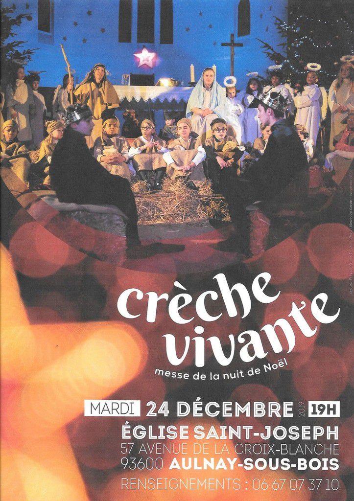 Crèche vivante en l'église Saint-Joseph à Aulnay-sous-Bois ce 24 décembre 2019