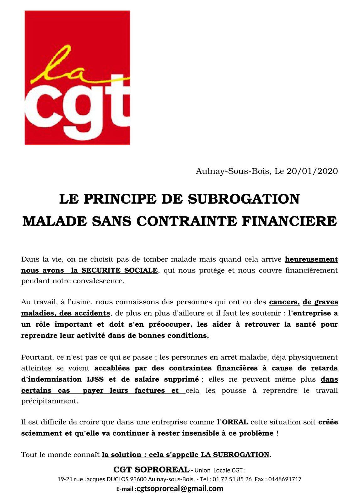 La CGT Soproreal d'Aulnay-sous-Bois demande la subrogation pour le groupe l'Oréal