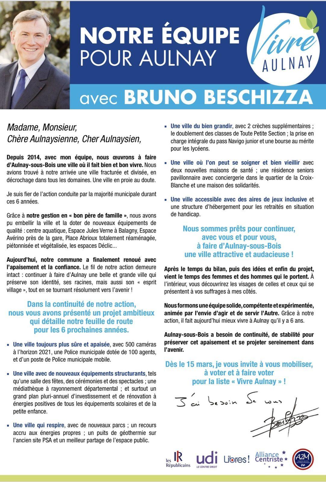 Municipales 2020 à Aulnay-sous-Bois : l'équipe Vivre Aulnay avec Bruno Beschizza