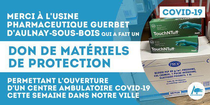 L'entreprise Guerbet à Aulnay-sous-Bois fait un don de matériels de protection contre le Coronavirus