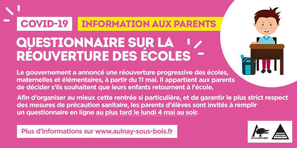 Réouverture des écoles à Aulnay-sous-Bois : un questionnaire à remplir par les parents