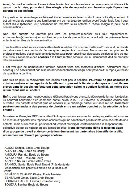 Lettre au maire des représentants des parents d'élèves sur la réouverture des écoles à Aulnay-sous-Bois