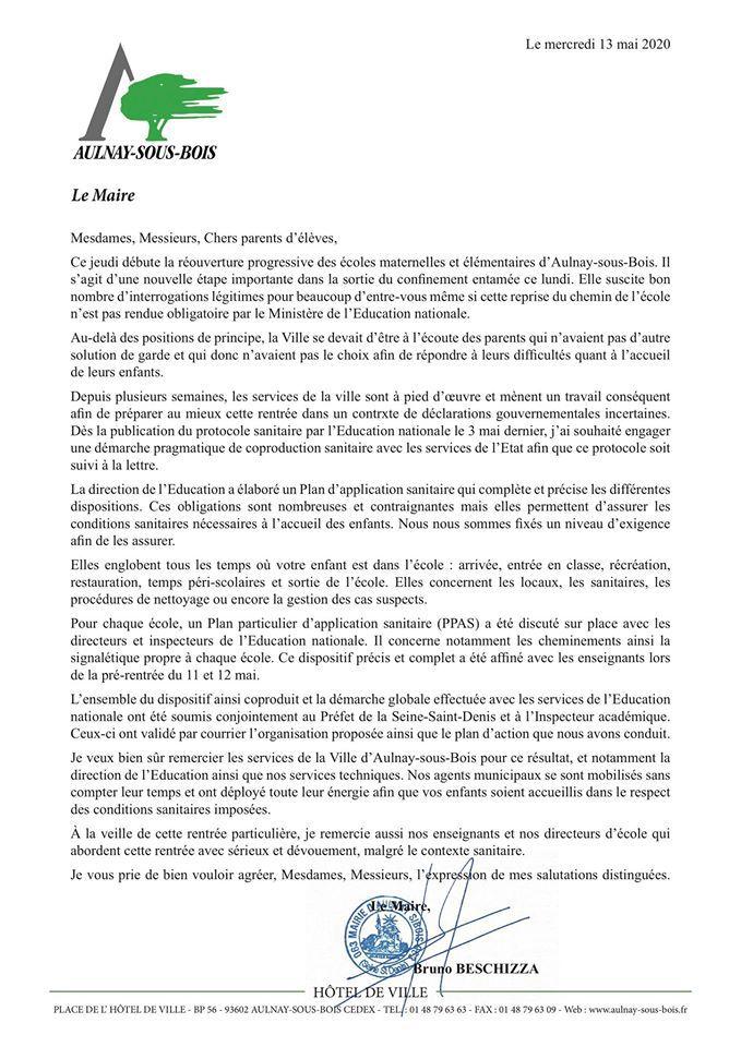 Réouverture des écoles à Aulnay-sous-Bois : lettre du maire Bruno Beschizza aux parents