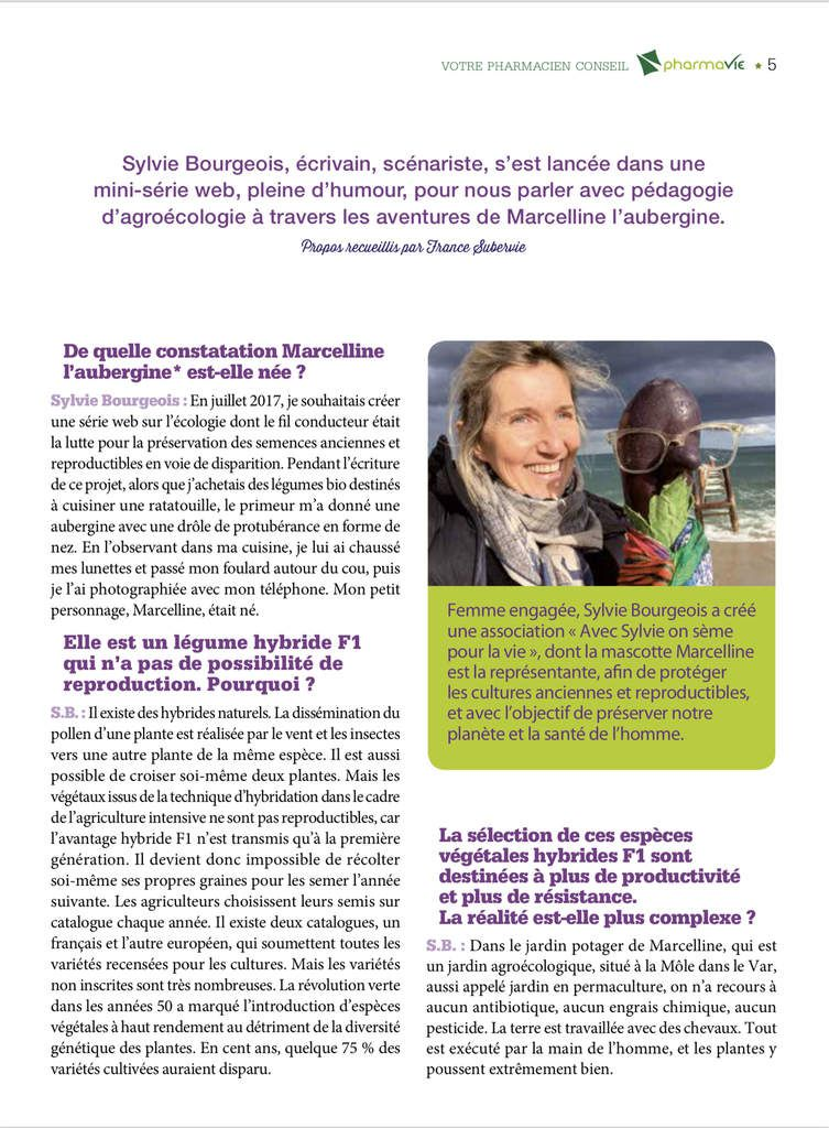 Sylvie Bourgeois Harel et Marcelline l'aubergine dans Pharmavie - Interview par France Subervie