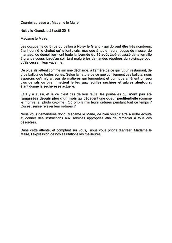 Courriel adressé à Madame le Maire le 23 août