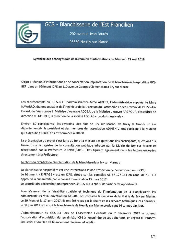 Compte rendu de la Réunion  du 22 mai 2019  - Méga blanchisserie de Bry sur Marne