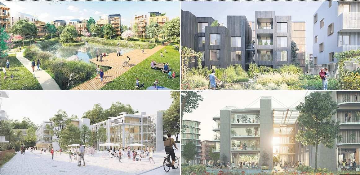 Les quatre projets en lice à Noisy-le-Grand dans le concours Inventons la MGP2. (Kaufman & Broad/Place Louis ; BNP Paribas Immobilier Résidentiel/ Reichen & Robert Associés et Brenac & Gonzalez Associés ; Eiffage Aménagement ; Bouygues Immobilier/My Lucky Pixel)