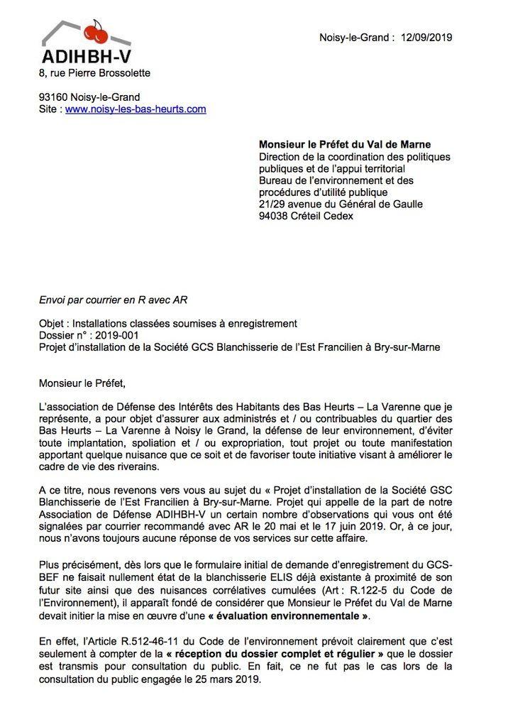Méga-blanchisserie : Courrier de l'ADIHBH-V au Préfet du Val de Marne en date du 12/09/19