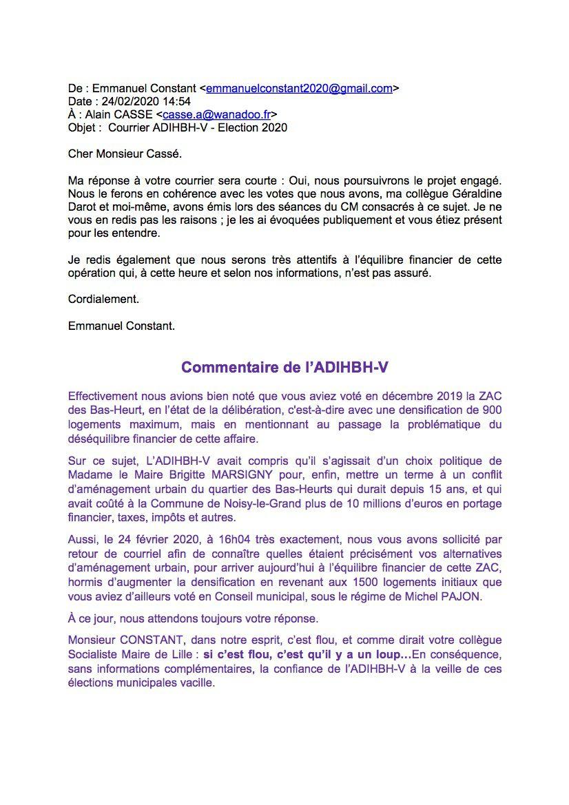 Réponse d'Emmanuel CONSTANT sur les Bas-Heurts pour les élection municipales de mars 2020
