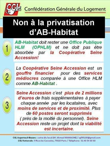 CGL : Non à la privatisation d'AB-Habitat