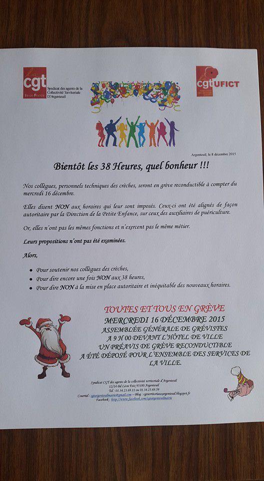 Mairie d'Argenteuil grève le 15 décembre