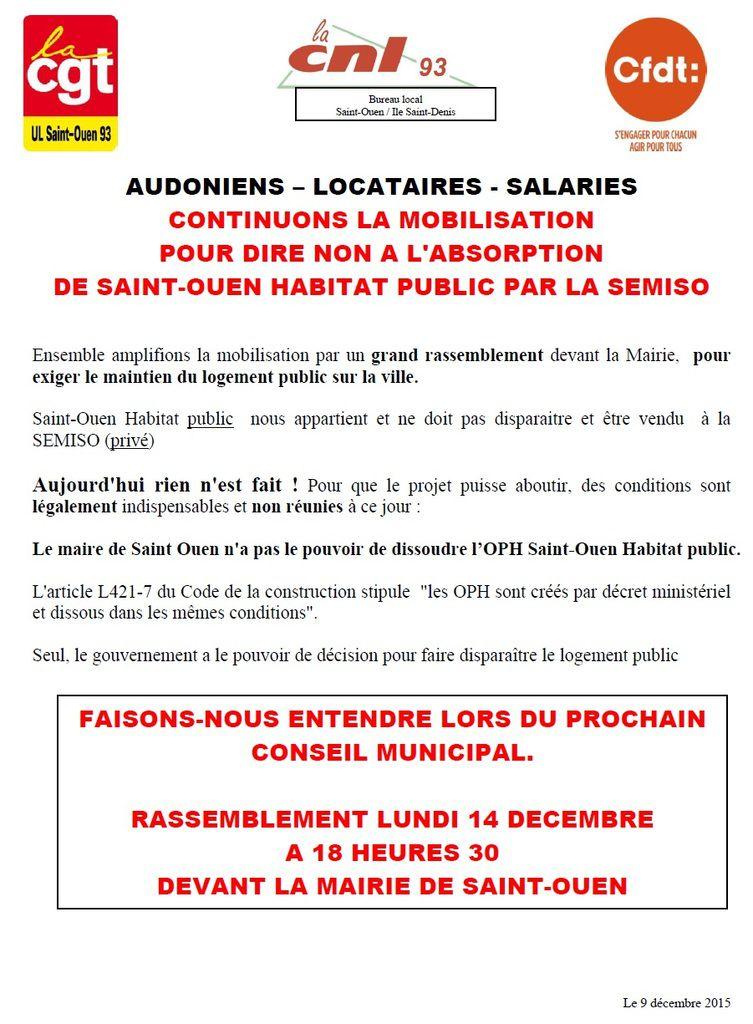 14 Décembre : pour la défense de l'habitat public à St Ouen