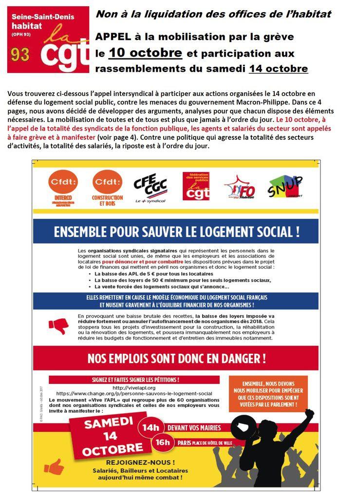 CGT Seine Saint Denis Habitat : Non à la liquidation des OPH