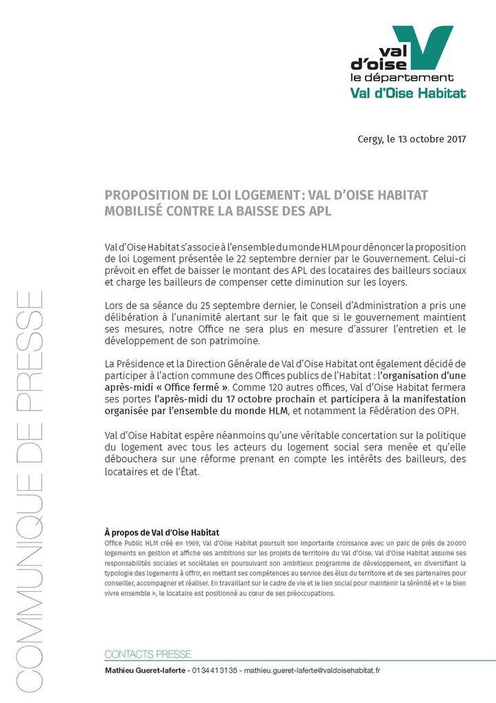 Val d'Oise Habitat mobilisé contre la baisse de l'APL