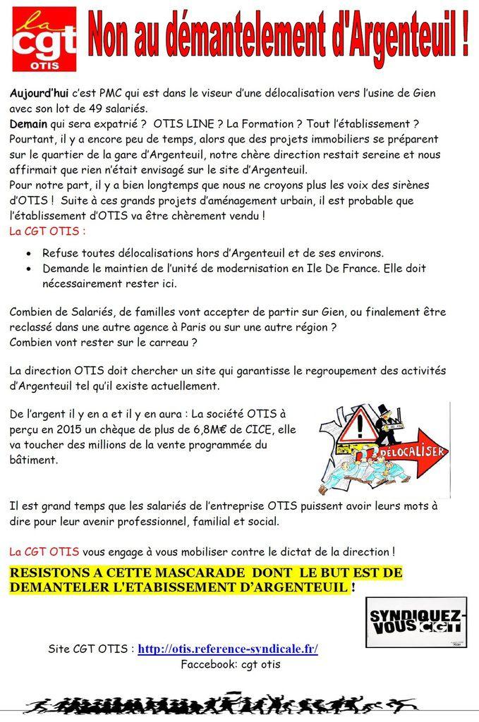 OTIS Non au démantèlement d'Argenteuil