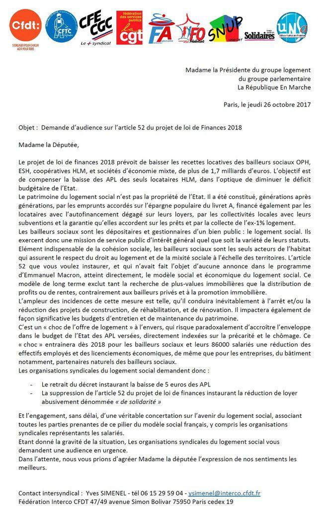 L'intersyndicale demande audience à la Présidente du groupe logement des parlementaires En Marche