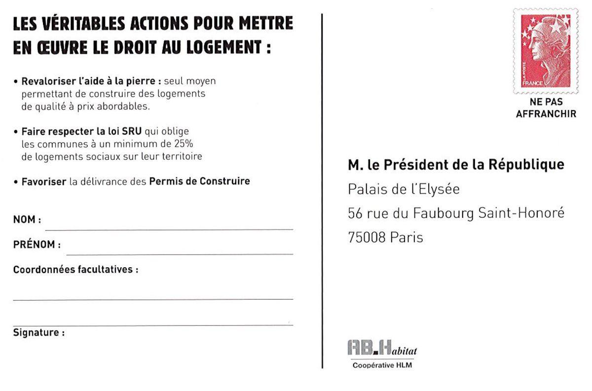 Alerte HLM en danger : Carte pétition à adresser au Président fossoyeur du logement social