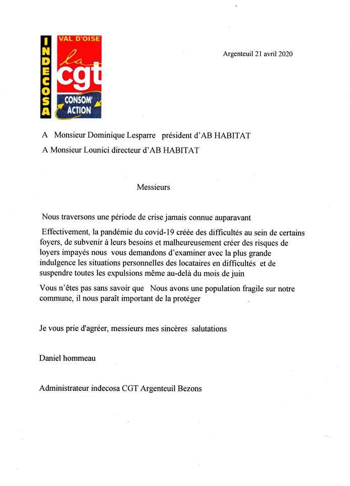 Prise en compte des locataires en difficultés : Indecosa CGT intervient auprès d'AB Habitat et auprès du Ministre du logement