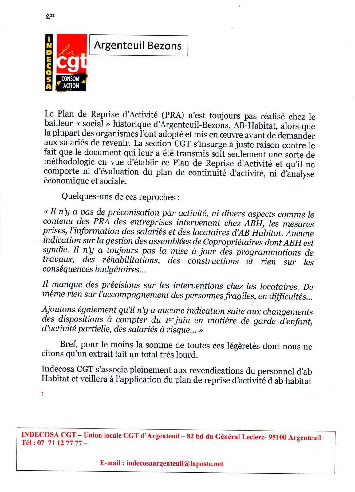 Reprise d'activités : Indecosa denonce la légèreté de la Direction d'ABH
