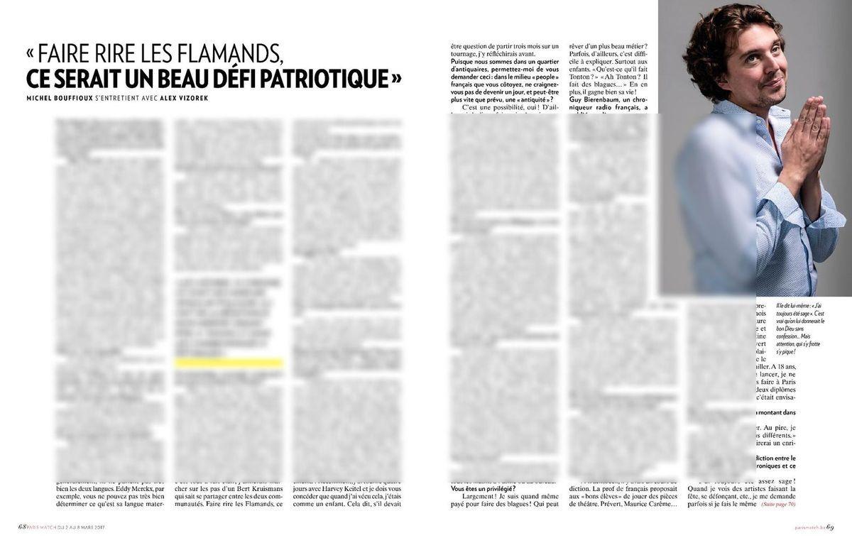 Alex Vizorek : « Faire rire les flamands, ce serait un beau défi patriotique »