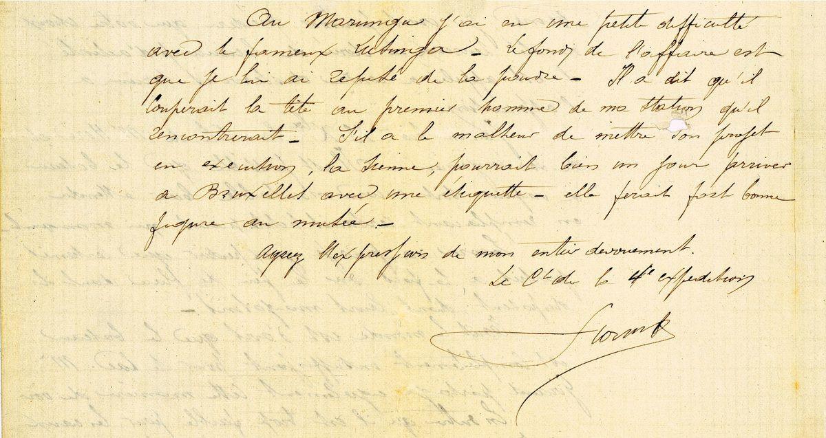 Fac similé de la lettre adressée par Storms à Strauch, le 19 décembre 1883.((Ce document est issu des archives de Storms consérvées par le Musée royal de l'Afrique centrale.)