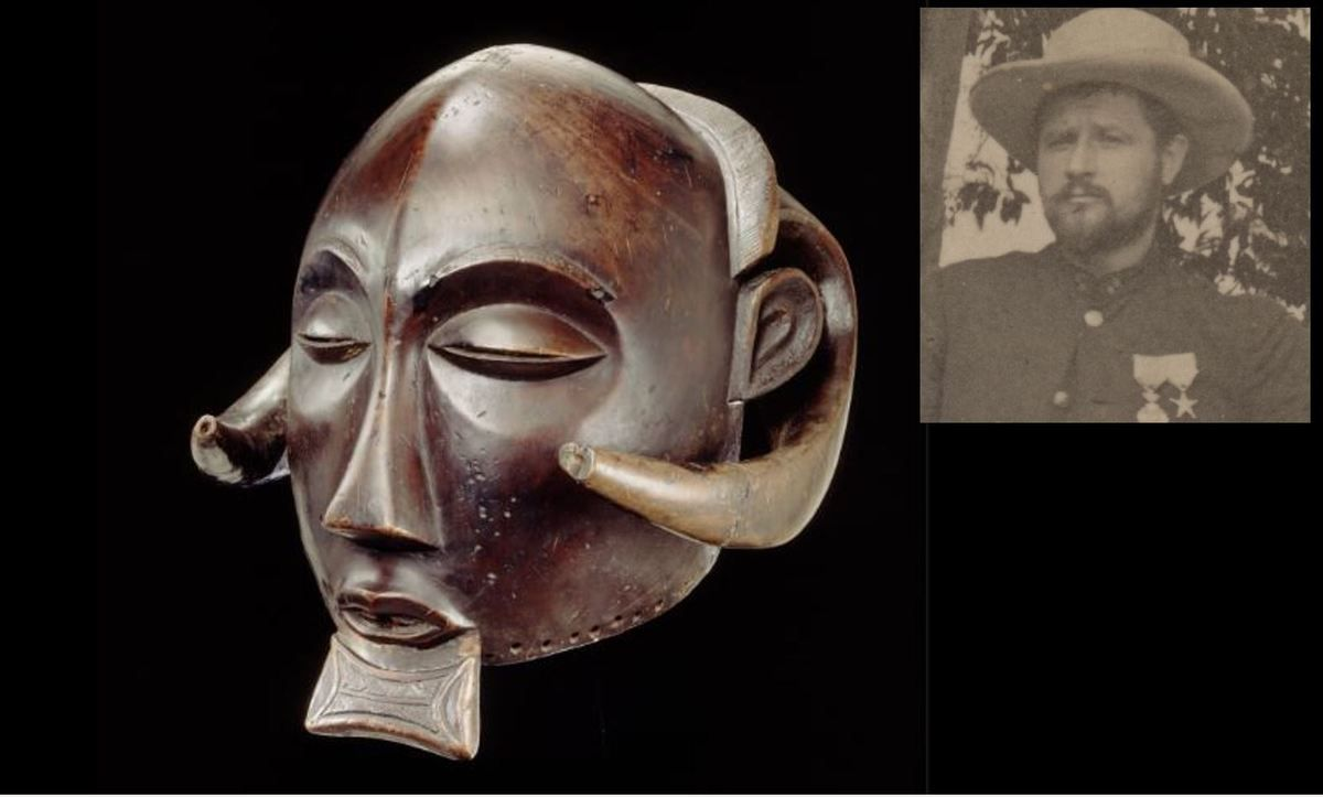 """Le masque volé en 1896 à Luulu par Oscar Michaux (en médaillon) est une """"pièce maîtresse"""" du Musée de Tervuren.-EO.0.0.23470, collection MRAC Tervuren ; R. Asselberghs, MRAC Tervuren © et HP.1959.29.824, collection MRAC Tervuren ; Delevoy, 1894"""