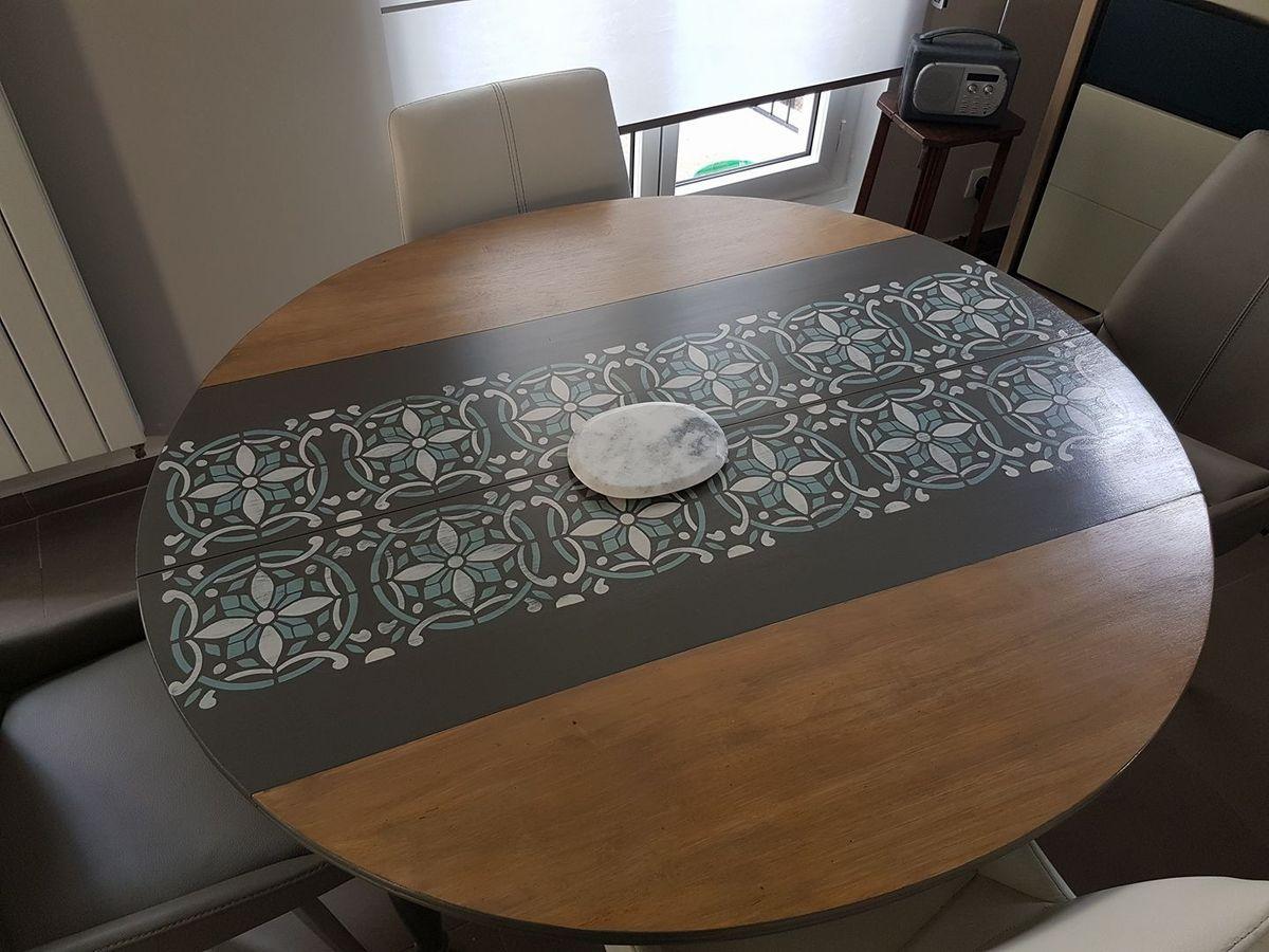 Relooker Une Table En Bois pour actualiser une table ronde en boisles carreaux de