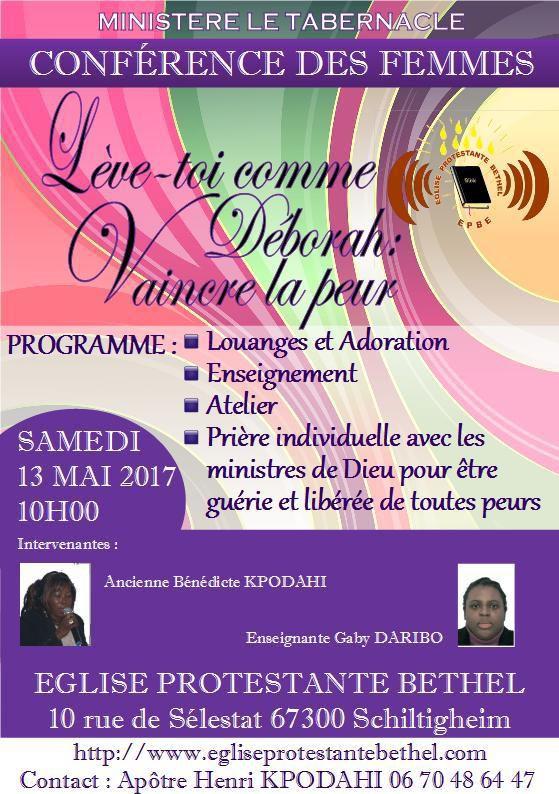 Première conférence des femmes le samedi 13 mai 2017 à partir de 10 H 00 : Lèves-toi comme Déborah !