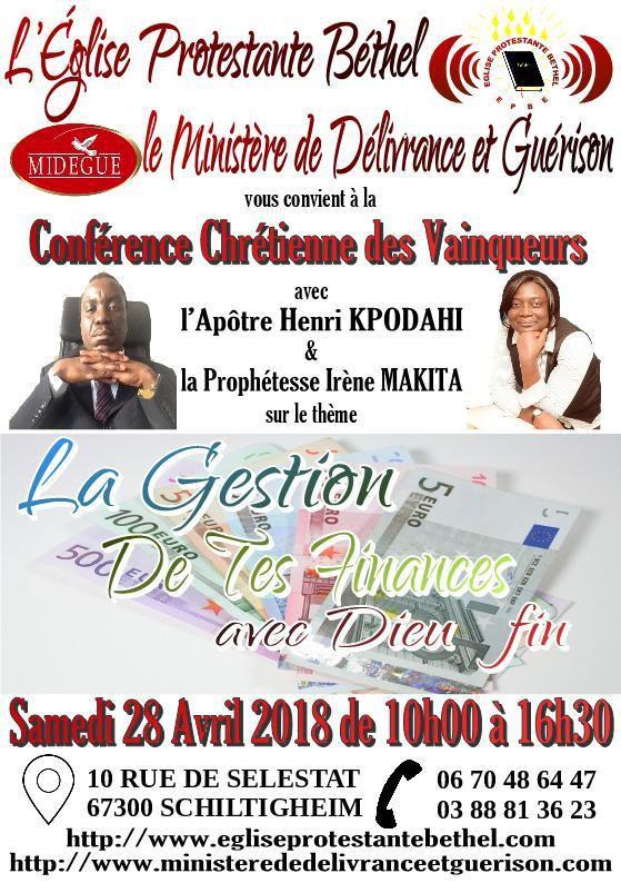 Invitation à la Conférence Chrétienne des Vainqueurs du 28 avril 2018 à Schiltigheim