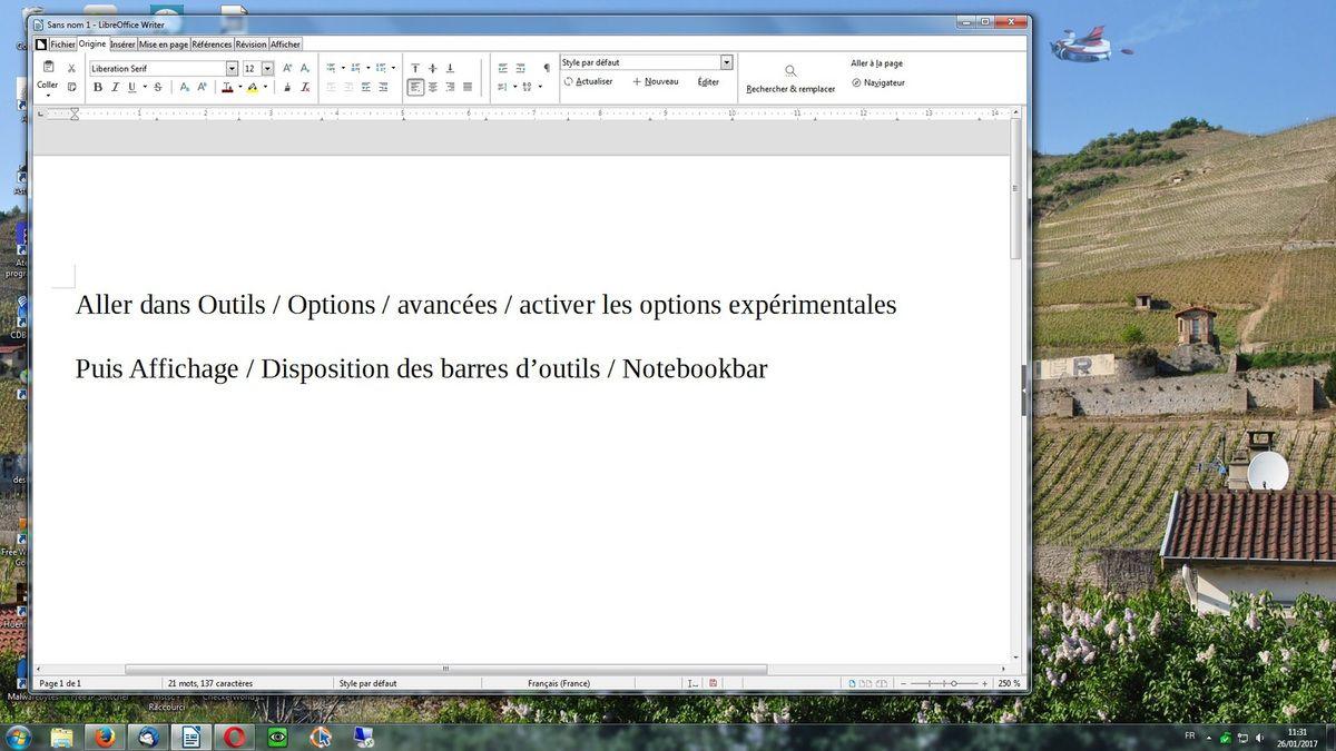 Activer le ruban dans LibreOffice 5.3